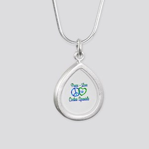 Peace Love Cocker Spanie Silver Teardrop Necklace