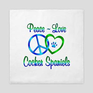 Peace Love Cocker Spaniels Queen Duvet