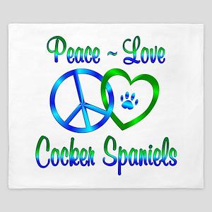 Peace Love Cocker Spaniels King Duvet