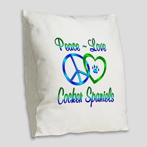 Peace Love Cocker Spaniels Burlap Throw Pillow