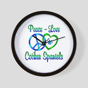 Peace Love Cocker Spaniels Wall Clock