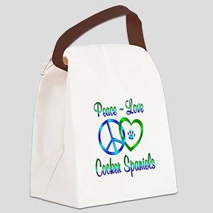 Peace Love Cocker Spaniels Canvas Lunch Bag