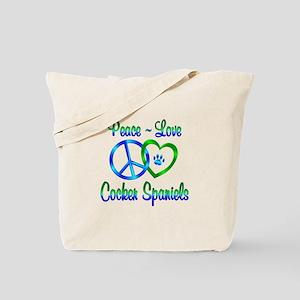 Peace Love Cocker Spaniels Tote Bag