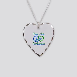 Peace Love Cockapoos Necklace Heart Charm
