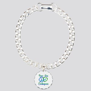 Peace Love Cockapoos Charm Bracelet, One Charm
