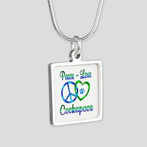Peace Love Cockapoos Silver Square Necklace