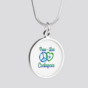 Peace Love Cockapoos Silver Round Necklace