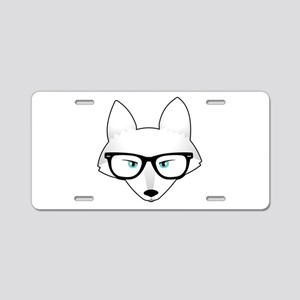 Cute Arctic Fox with Glasse Aluminum License Plate