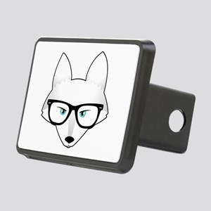 Cute Arctic Fox with Glass Rectangular Hitch Cover