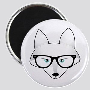 Cute Arctic Fox with Glasses Magnet