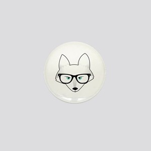 Cute Arctic Fox with Glasses Mini Button