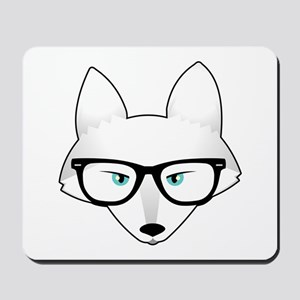Cute Arctic Fox with Glasses Mousepad