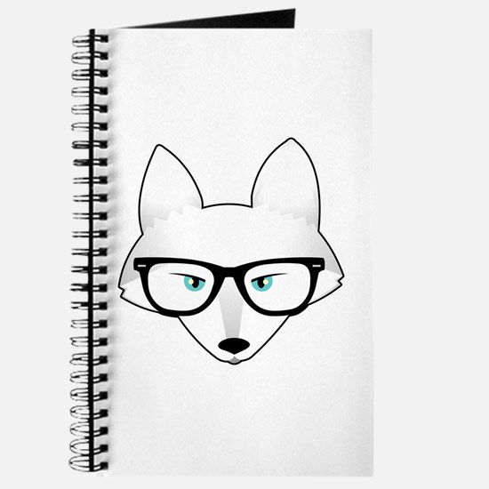 Cute Arctic Fox with Glasses Journal