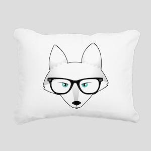 Cute Arctic Fox with Gla Rectangular Canvas Pillow