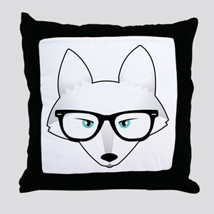 Cute Arctic Fox with Glasses Throw Pillow