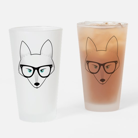 Cute Arctic Fox with Glasses Drinking Glass
