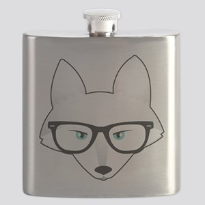 Cute Arctic Fox with Glasses Flask