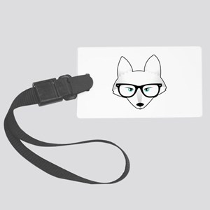 Cute Arctic Fox with Glasses Large Luggage Tag