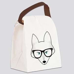 Cute Arctic Fox with Glasses Canvas Lunch Bag