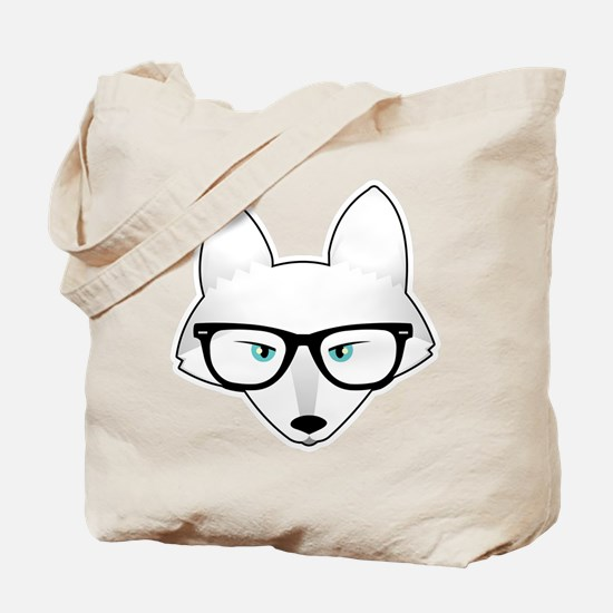 Cute Arctic Fox with Glasses Tote Bag