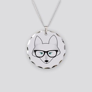 Cute Arctic Fox with Glasses Necklace Circle Charm