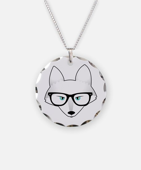 Cute Arctic Fox with Glasses Necklace