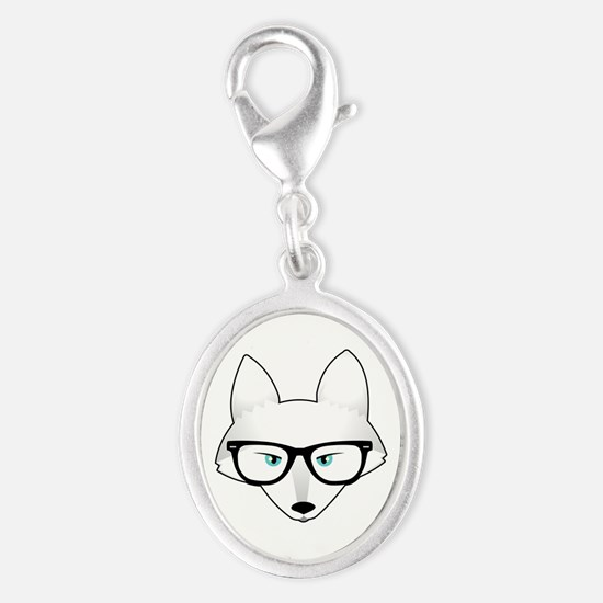 Cute Arctic Fox with Glasses Silver Oval Charm