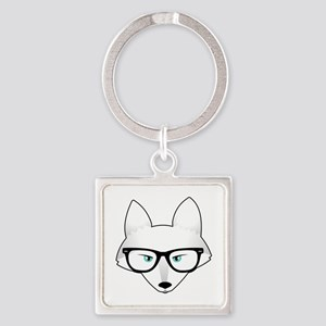 Cute Arctic Fox with Glasses Square Keychain