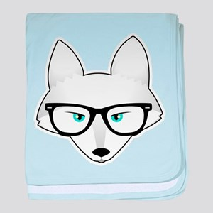 Cute Arctic Fox with Glasses baby blanket