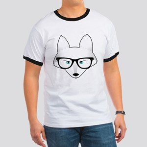 Cute Arctic Fox with Glasses Ringer T