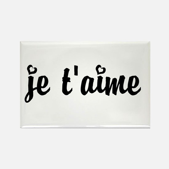 I Love You in French Rectangle Magnet