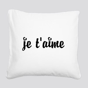 I Love You in French Square Canvas Pillow