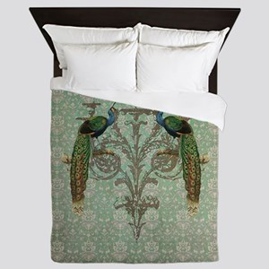 Vintage Peacock Antiqued Damask Swirl Pattern Quee