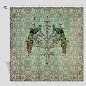 Vintage Peacock Antiqued Damask Swirl Pattern Show