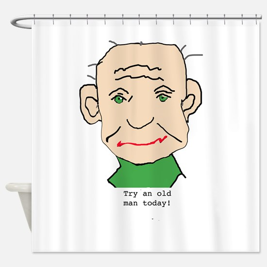 Funny Old Man Shower Curtain
