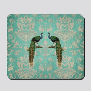 Vintage Peacock Antiqued Damask Swirl Pa Mousepad