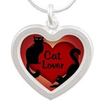 Cat Lover Cute Fat Cat Silver Heart Necklace