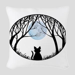 Cat Lover Cute Fat Cat Woven Throw Pillow