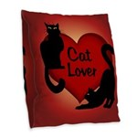 Fat Cat & Cat Lover Burlap Throw Pillow
