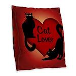 Fat Cat & Cat Lover Burlap Throw Pillow