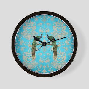 Vintage Peacock Antiqued Damask Swirl P Wall Clock
