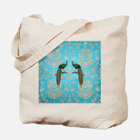 Vintage Peacock Antiqued Damask Swirl Pat Tote Bag