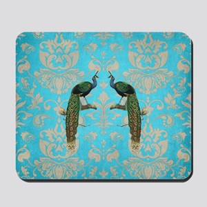 Vintage Peacock Antiqued Damask Swirl Pa Mousepad