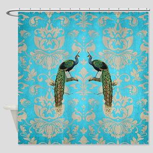 Vintage Peacock Antiqued Damask Swi Shower Curtain