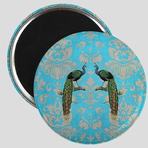 Vintage Peacock Antiqued Damask Swirl Patte Magnet