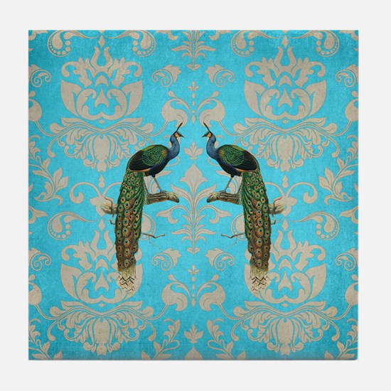 Vintage Peacock Antiqued Damask Swirl Tile Coaster