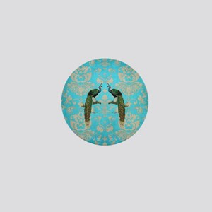 Vintage Peacock Antiqued Damask Swirl  Mini Button