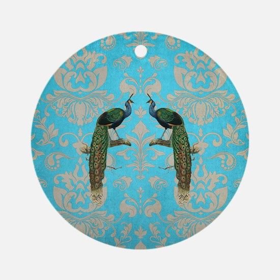 Vintage Peacock Antiqued Damask Swi Round Ornament