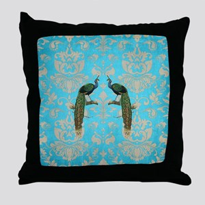 Vintage Peacock Antiqued Damask Swirl Throw Pillow