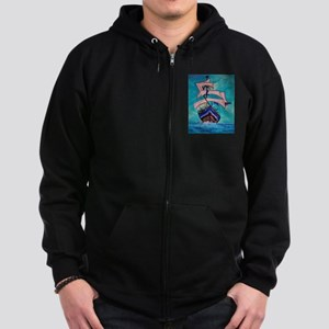 Sailing Ship on Ocean Zip Hoodie